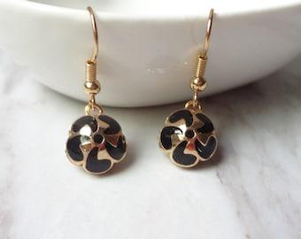 Victorian Edwardian Cloisonne Enamel Black Flower Dangle Drop Earrings 0276