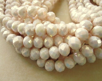 Cream AB Glass Beads Latte Pink Milky White AB Bead Faceted Glass Bead Rondelle, 8x10mm Hole 1mm 36 pcs GB1150