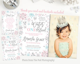 Winter onederland invitation girl, winter onederland first birthday party, blue pink and silver, snowflakes first birthday invitation