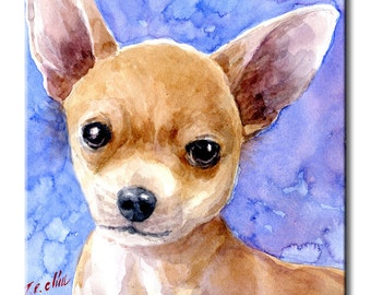 Chihuahua Art Tile Print on Ceramic with Hook or with Feet Indoor Use -Gift for Dog Lovers