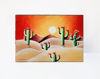 ACEO Desert Painting on Canvas, Desert Cactus Painting, Cacti Painting, Sunset Painting Cactus Decor, Cactus Art