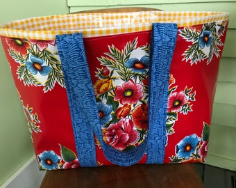 The Senorita---mexican floral print on bright red oilcloth tote bag