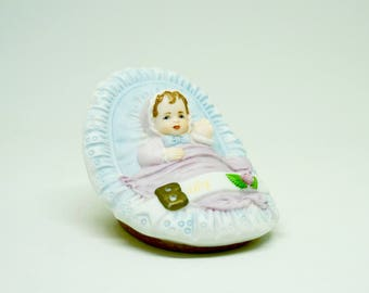 Bisque; Baby Figurine; Approx. 2 x 2.5 in. By Enesco; Made in Srilanka; FREE SHIPPING !!!