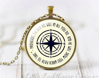 Large Proverbs Pendant Necklace Scripture Necklace Christian Necklace Large Pendant Necklace Inspirational Gift Christian Jewelry