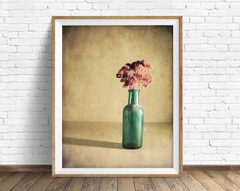 "botanical print, flowers, large art, large wall art, instant download printable art, digital download, instant download - ""Red and Blue"""