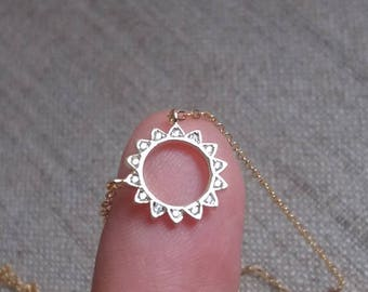 Gold Sun Necklace. Zirconia Sun. Pave Sun. Sun Pendant. Gold Filled Chain. Sunshine Necklace. Delicate Dainty. Layering Layered
