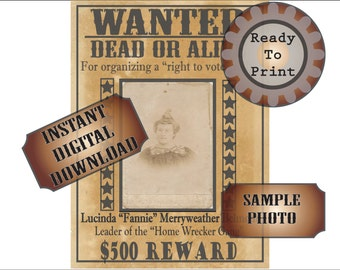 Old West Wanted Poster Printable Bachelorette Party Decor Victorian Woman Lucinda Fannie Vote Gang Dead Alive 500 Dollar Reward Ephemera
