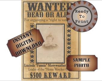 Wanted Poster Printable Old West Bachelorette Party Decor Victorian Woman Lucinda Fannie Vote Gang Dead Alive 500 Dollar Reward Ephemera