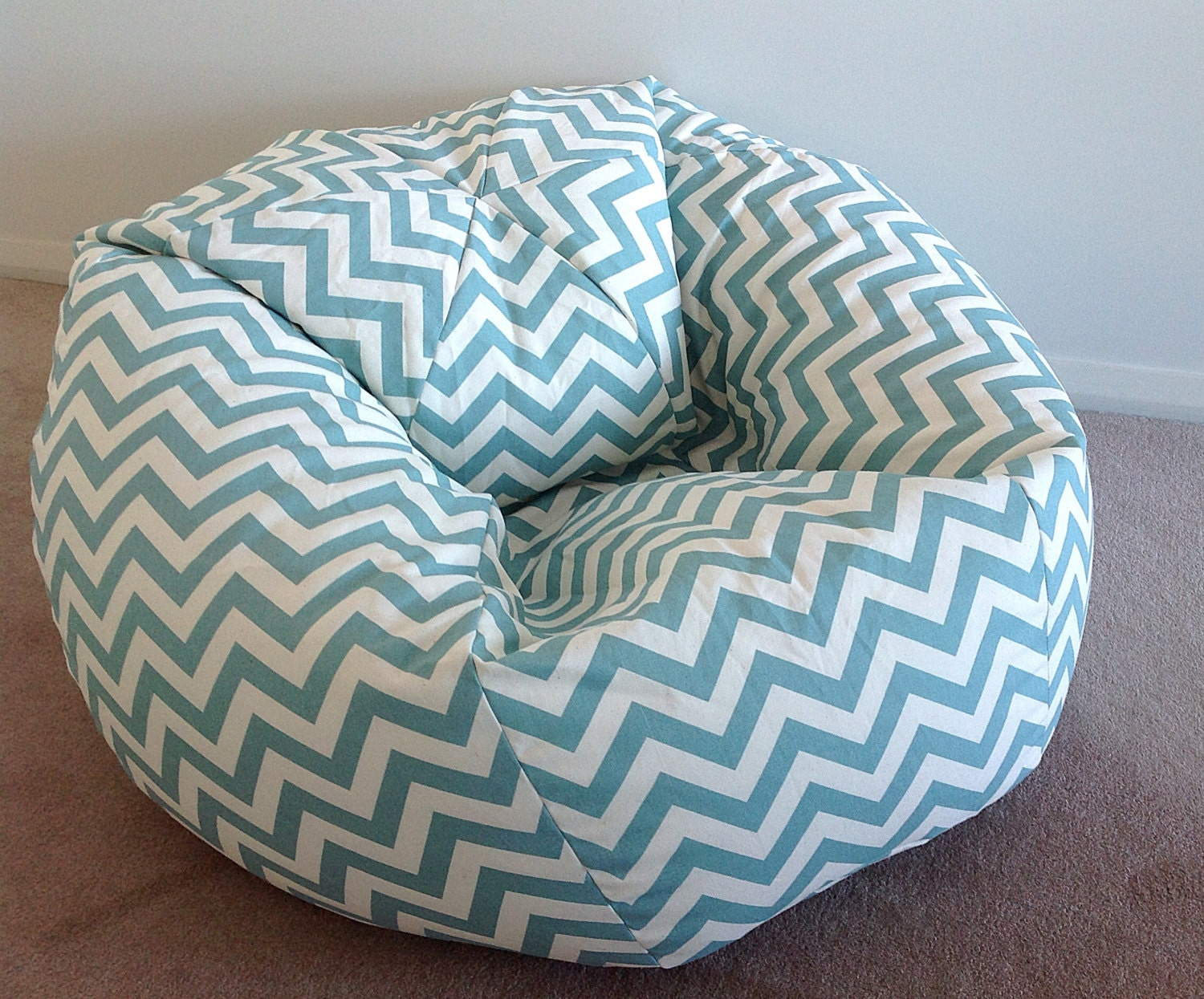 Duck Egg Blue Bean Bag Zig Zag Chevron Adults