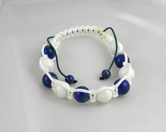 Woman - sponge coral and Malachite LAPIS shamballa bracelet