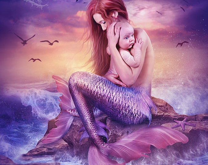 Mother and baby purple and pink fantasy mermaid art print