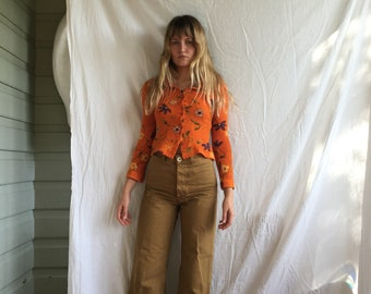 Crop '90s button up floral and orange blouse xs- small