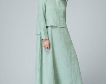 Loose linen dress, mint dress, casual dress, maxi dress, womens dresses, long sleeves dress, garden party dress, custom dress 1476
