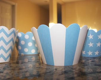 Blue and White Cupcake Wrapper for Baby Shower, Birthday Parties, Baking Supplies in Stripes, Stars, Chevron & Polka Dots