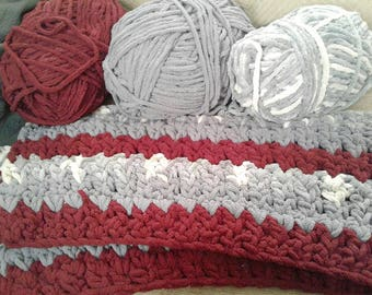 Red and Gray Throw Blanket