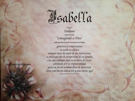 Isabella First Name Meaning Art Print-Spanish Name Meaning