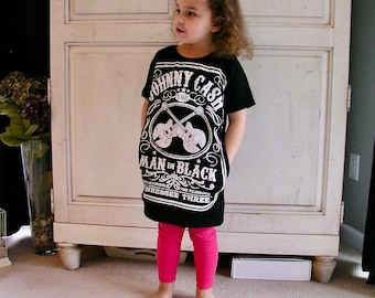 Johnny Cash Tunic Dress w/ pockets tshirt upcycle  upcycle repurposed eco friendly recycled