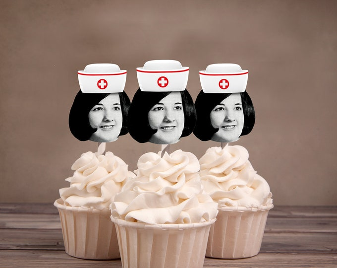 Digital Photo Cupcake Toppers, Nurse, Retirement party, 30th,40th,50th,60,75,Surprise Birthday Party, adult birthday, decor, nursing