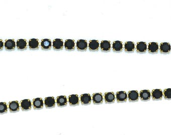 stunning black 03mm rhinestone chain 50 cm