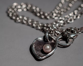 """chunky heart/leaf pendant and chain, silver, fresh water pearl. """"the offering"""""""