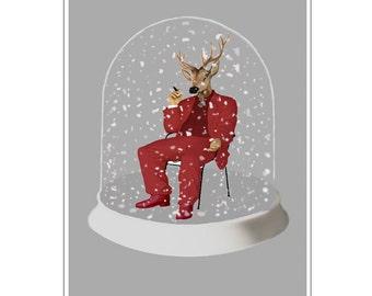Deer Print,  Antler, Stag, Deer Art, Deer Art Print, Deer Artwork, Wall Decor, Wall Art, Deer Wall Hanging, Grey, Red, Snow Globe, Weird Art