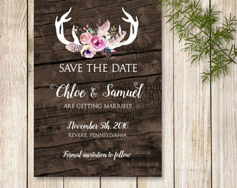 Boho Save the Date, Antler Save the Date, Floral Antler Save the Date Invite, Rustic Antler Save the Date, Printable or Printed