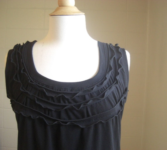 Womens Ruffle Tank Top Cotton jersey Shirt - scoop neck loose fit blouse embellished tshrt holiday fashion black cotton shirt Made to Order