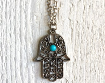 Silver and turquoise Hamsa necklace