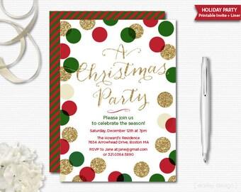 Christmas Party Invitation Christmas Invitation Holiday Invitation Holiday Party Invite Gold Glitter Polka Dots Modern Printable Digital
