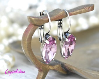 Pink Earrings, Crystal Earrings, Swarovski Earrings, Drop Earrings, Dangle Earrings, Wedding Jewellery, Vintage Look Earrings, Gift for her