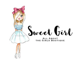 Sweet Girl  OOAK Character Illustrated Premade Logo design-Will not be resold