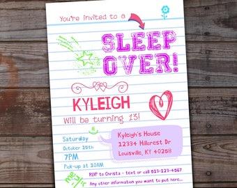 Sleepover invite etsy sleepover invitation sleepover birthday invitations tween girls sleep over party slumber party stopboris Gallery