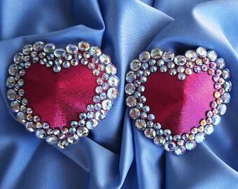 Heartstrings burlesque pasties Heart nipple covers AB rhinestone pasties AB rhinestone tassels Erotic lingerie Custom made lingerie