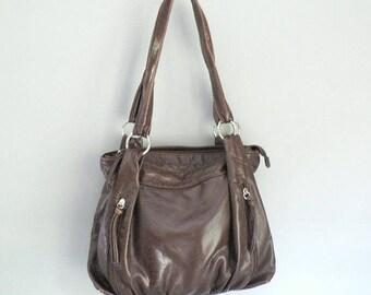 Large Brown Vegan Shoulder Bag