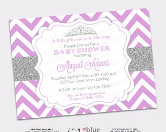 Princess baby shower invitations purple silver princess baby princess baby shower invitation purple chevron silver glitter little princess invitation girl baby shower invite filmwisefo Choice Image