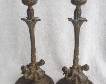 Pair of Antique French Bronze Cherub Candle Sticks Holders