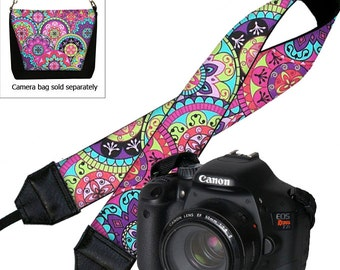 Paisley Camera Neck Shoulder Strap for Women Pink Purple Boho Hippie DSLR Padded Camera Strap Nikon Canon Sony etc blue yellow RTS