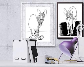 Sphynx Cat Art Print - Cat Lover Gift - Naked Cat - Sphynx Poster A4 - Sphynx Pet Art - Black and White Cat Print - Animal Lover