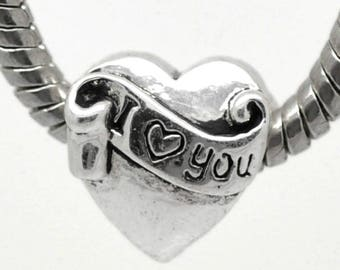 """I LOVE YOU"" metal heart bead aged 12 x 11 pr CHARMS"
