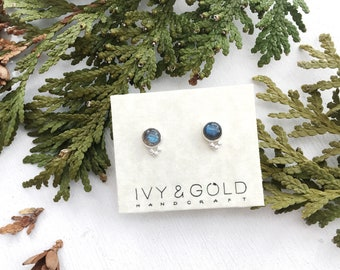 Tiny Galaxies Earrings. Sterling Silver and Labradorite Stud Earrings. galaxy. stars. magical. Labradorite jewelry. New Classic.