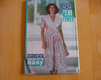 Vintage, Uncut, 1990s Butterick See & Sew Pattern 6116,  Misses Loose Fitting Top with Collar, Skirt, Multi Size Misses Size 12-16