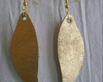 Leather Earrings Pierced or Clip on Gold Metallic Leaf Double sided