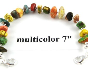 Multicolor turquoise nugget medical alert or watchband 7 inches