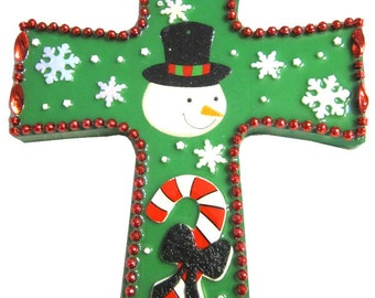 Green with a Snowman and Candy Cane Cross