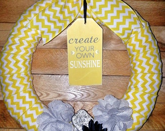 Wreath for front door, Yellow  Wreath, Sunshine wreath, ribbon wreath, shabby chic wreath, cottage wreath, door decor, chevron decor