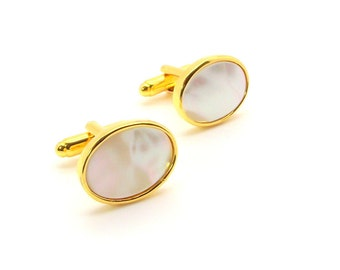 White Mother of Pearl Cufflinks - White Pearl Cufflinks - White Oval Cufflinks