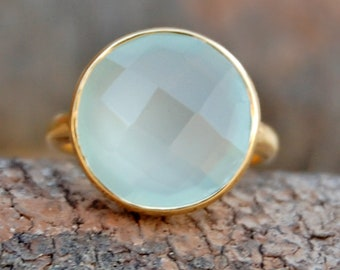Chalcedony Ring, Round aqua Chalcedony sterling silver ring, Chalcedony 14K Yellow Gold Plated Ring Jewelry