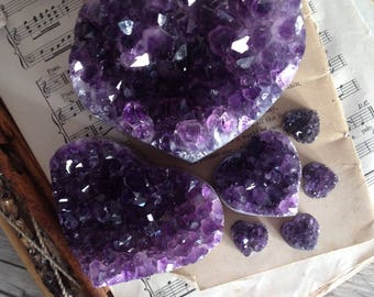Amethyst druzy Hearts - dark purple
