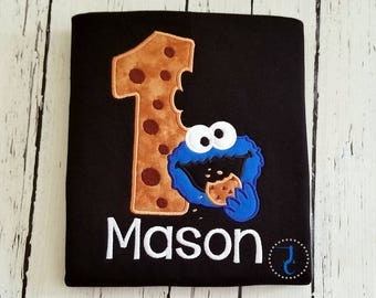 Cookie Monster Birthday Shirt - Cookie Monster Birthday, Cookie Monster Party, Sesame Street Birthday, Boys Birthday Shirt, Toddler Birthday