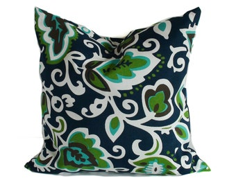 Outdoor pillow cover, Outdoor throw pillow, Blue outdoor pillow, Green outdoor pillow, Outdoor cushion cover, Patio pillow, 18x18, 20x20